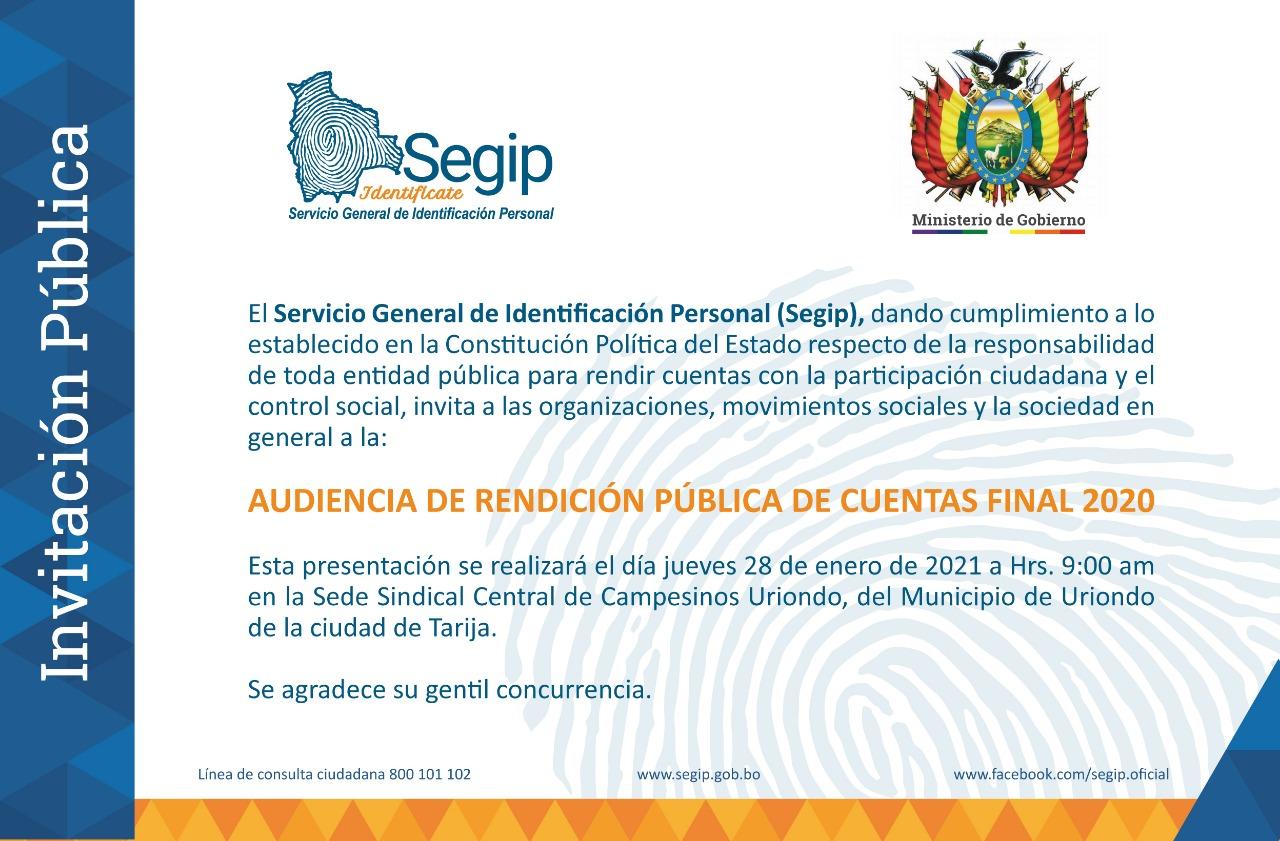 Invitación a la Audiencia de rendición pública de cuentas final 2020